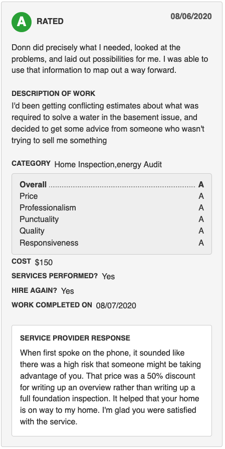 Angie's List Home Inspector Review Milwaukee